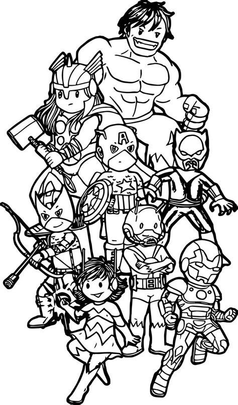 Avengers Team Coloring Page See the category to find more