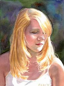 Portrait of a blonde girl, figurative young woman ...