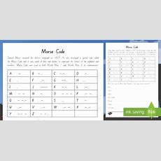 Wartime Morse Code Worksheet  Worksheet  New Zealand, Anzac Day, 25 April