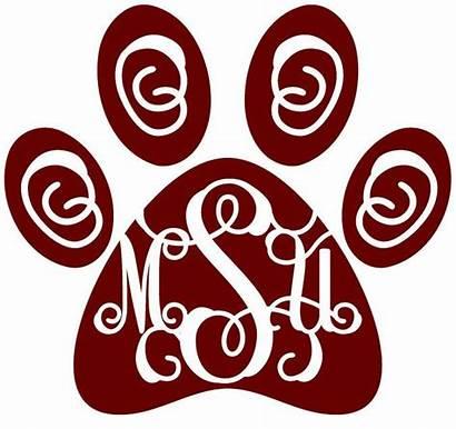 Decal Mississippi State Msu Paw Monogram Bulldogs