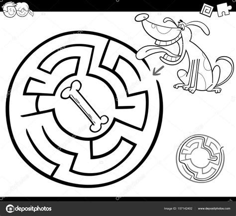 Doolhof Spelletjes Kleurplaat by Doolhof Met Hond Kleurplaten Pagina Stockvector