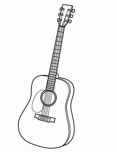 Guitar Coloring Pages Electric Outline Drawing Acoustic