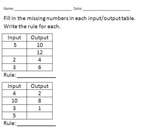 4th grade math input output tables homeshealth info
