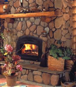River Rock Cultured Stone Fireplace