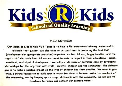 vision statement r katy tx child care day care 520 | o