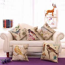 Vintage Home Decor Bird Cotton Linen Pillow Case Sofa