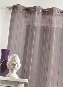 Kit Rayure Vitrage : voilage en tamine tiss e rayures verticales prune ~ Premium-room.com Idées de Décoration