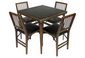 wood card table w 4 folding chairs from one