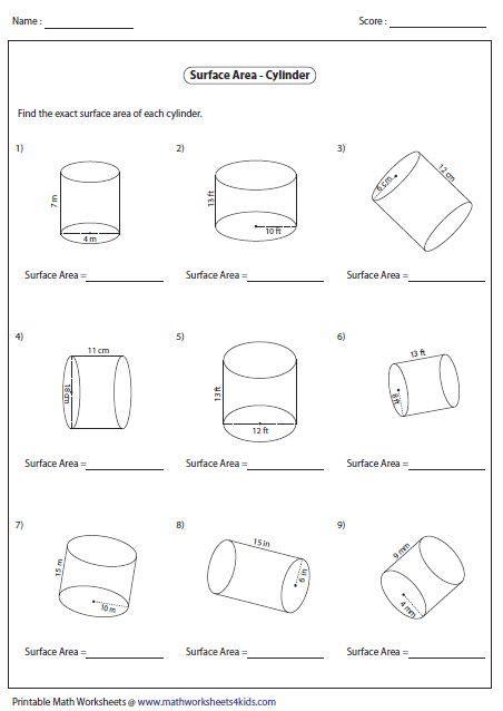 surface area  cylinders area worksheets volume worksheets