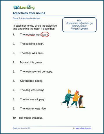 nouns  adjectives worksheets grade  awesome worksheet