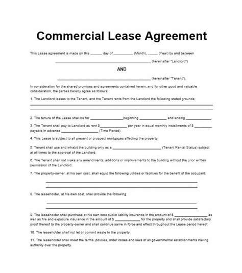 commercial lease agreement templates business