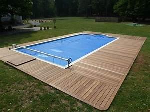 amenagement terrasse bois autour d une piscine piscine With plage piscine sans margelle 7 bardage bois exterieur amenagement exterieur bois