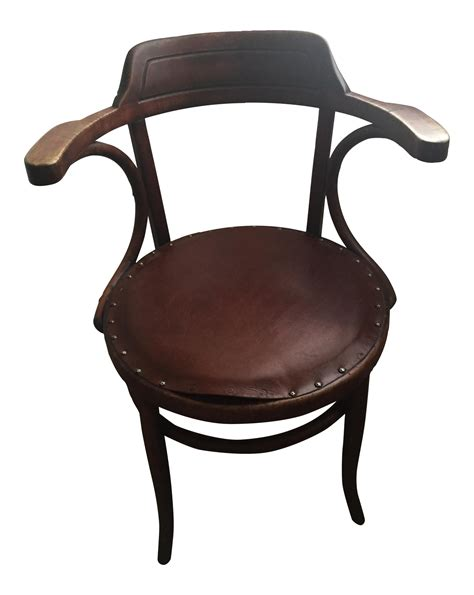 vintage leather upholstered bentwood chair in the style of