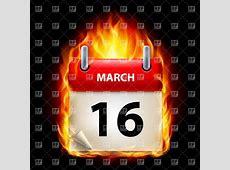 Fiery calendar icon March 16 Royalty Free Vector Clip Art