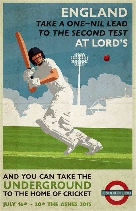 vintage cricket poster pastiche  ashes test series