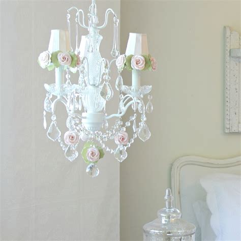 3 light chandelier with clear crystals and pink green