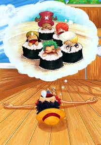 One Piece Luffy Eating Sushi