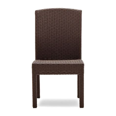 set of 2 wicker dining armless chairs all weather seats