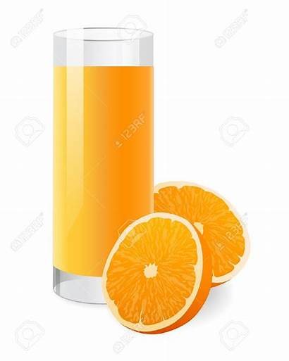 Juice Clipart Glass Orange Background Half Fresh