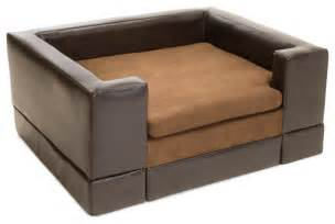 Dog Rugs Australia by Rover Chocolate Brown Leather Dog Sofa Bed Large