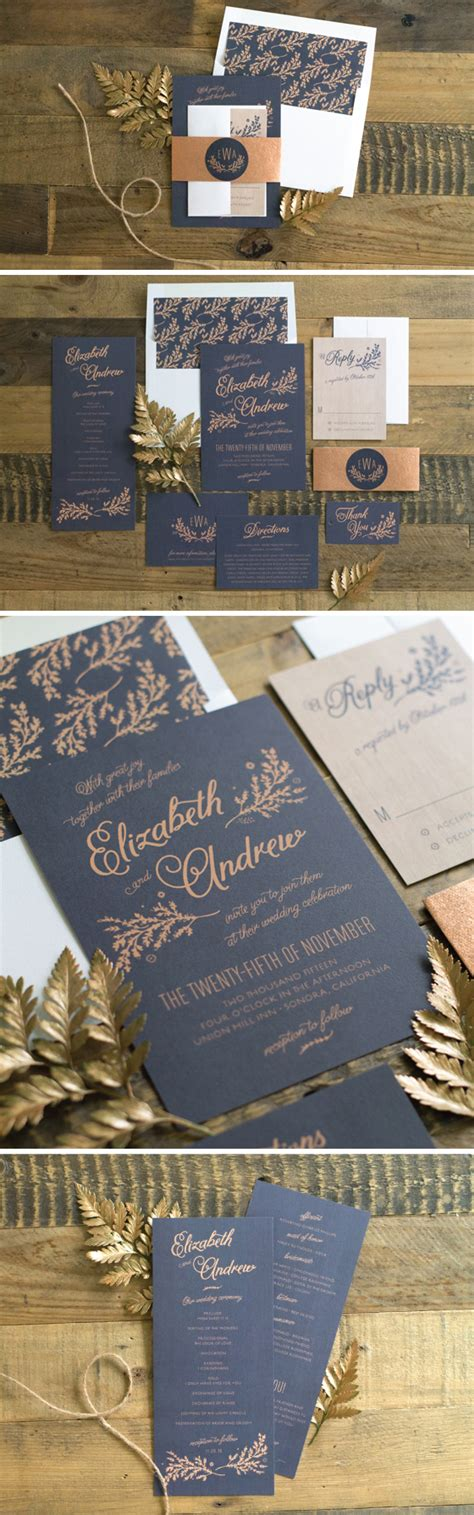 rustic wedding invitations  navy elli