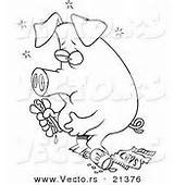 Pig Cartoon Eating Coloring Junk Food Outlined Stuffed Vector Dog Royalty sketch template