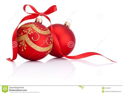Two Red Christmas Decoration Balls With Ribbon Bow Stock