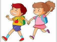 Jongen en meisje hand in hand Vector Gratis Download