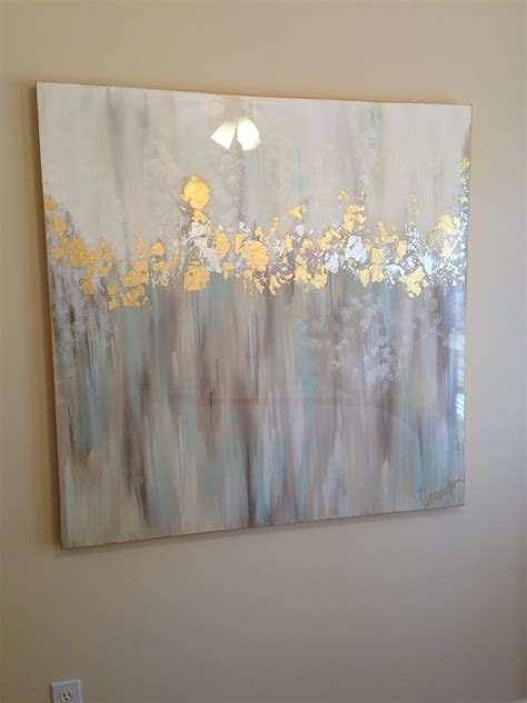 white gray blue gold and silver abstract 48x48 by