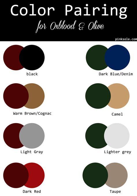fall color palette color pairind dark red merlot oxblood