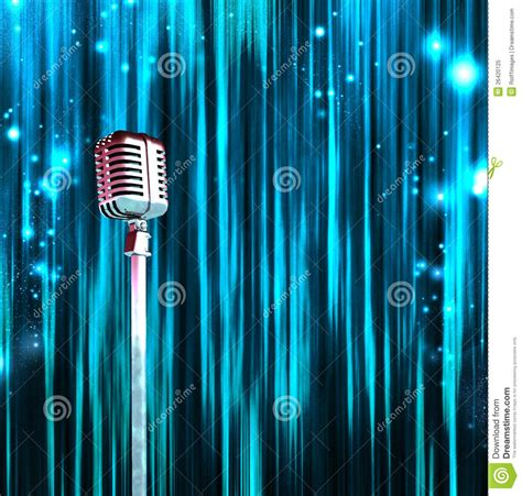 classic microphone colorful curtains royalty  stock