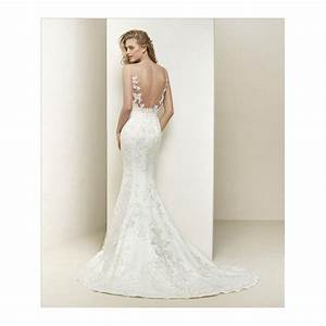 Dralia by pronovias illusion neckline wedding gown with train for Illusion lace wedding dress