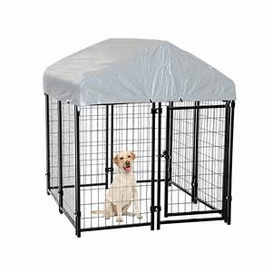 Outdoor dog kennel house crate cage enclosure anti uv roof for Outside covered dog kennels