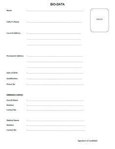 Bio Data Sle by Collection Of Biodata Form Format For Application Free