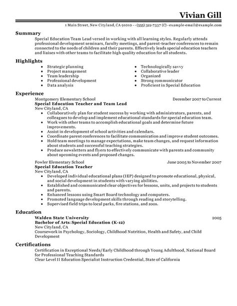 Educational Leadership Resume Template by Big Team Lead Exle Classic 2 Design