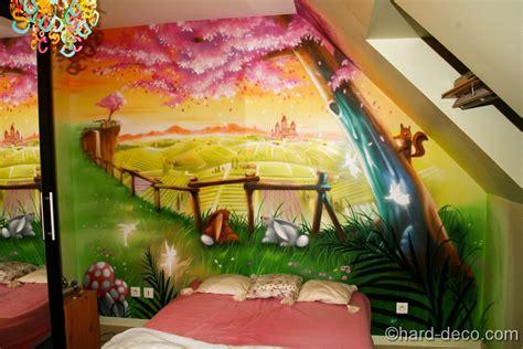 fresque murale chambre fille fresque décorative dans une chambre de filles paysage