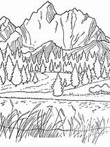 Coloring Scenery Adults Pages Mountain sketch template