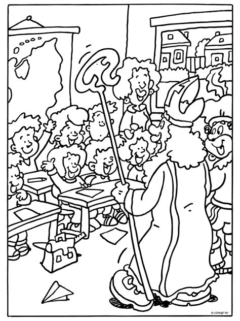 Kleurplaat Sinterklaas Komt Op Bezoke by Kleurplaat Sinterklaas Komt In De Klas Kleurplaten Nl