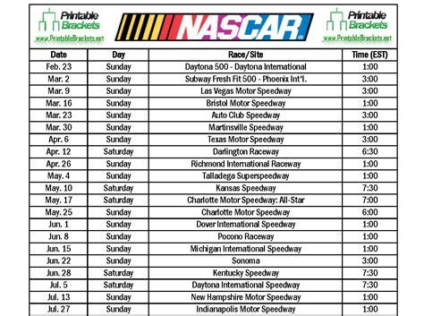 nascar schedule nascar schedule