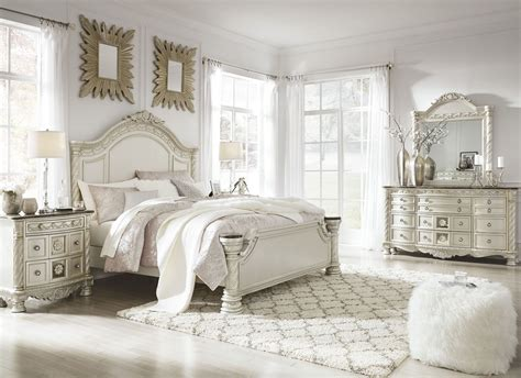 cassimore shore pearl silver panel bedroom set from