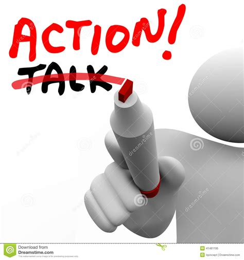 Action Vs Talk Man Writing Words Crossing Out Best Strategy Acti Stock Illustration