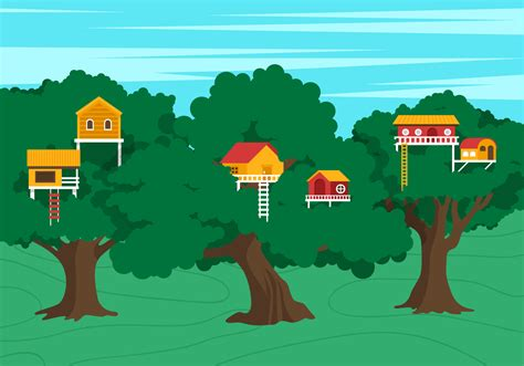 vector treehouse scene   vector art stock