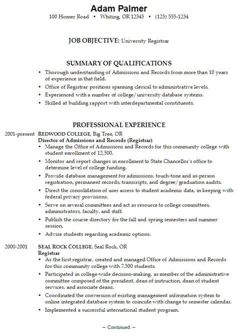 resume exle for a registrar susan ireland