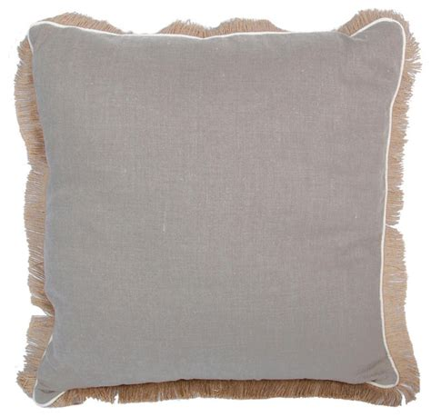 pillows with fringe linen pillow with jute fringe natural transitional scatter cushions by lacefield