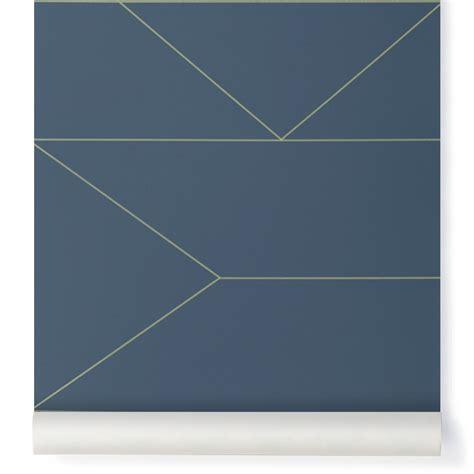 papier peint lines bleu nuit ferm living design enfant