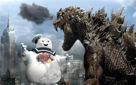 Godzilla Vs. Stay Puft Marshmallow Man Wallpaper