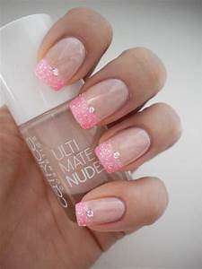 French Tip Nails with Multi Colored Glitter Ideas ...