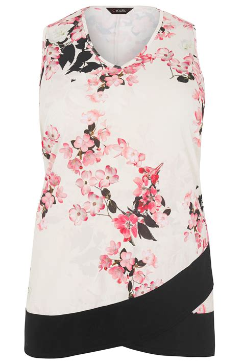 floral cross forms ivory pink floral top with cross over hem plus size 16