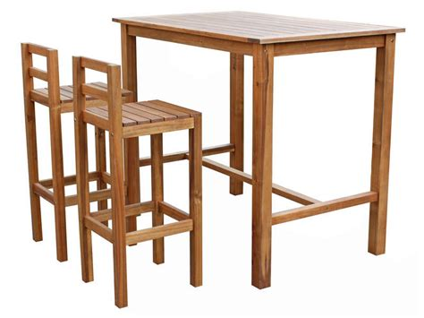 Ensemble Table Haute + 2 Chaises De Jardin En Acacia