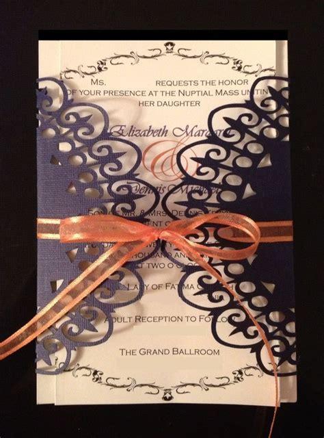 wedding invitation lace wrap invitation purple and